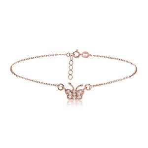 Jewelry - 18k Rose Gold Cubic Zirconia Butterfly Anklet